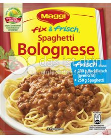 maggi fix frisch spaghetti bolognese 295 0 kalorien. Black Bedroom Furniture Sets. Home Design Ideas