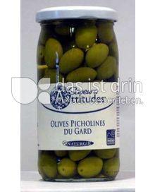 Produktabbildung: Saveurs Attitudes Französische Picholines Oliven grün aus der Region Gard, Olives Picholines du Gard, ohne Zuckerzusatz 370 ml
