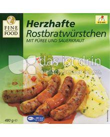 Produktabbildung: Fine Food Herzhafte Rostbratwürstchen mit Püree und Sauerkraut 480 g