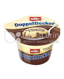 Produktabbildung: Müller DoppelDecker® Schokopudding & Vanillasoße 200 g