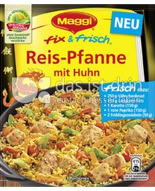 maggi fix frisch reis pfanne mit huhn 253 0 kalorien kcal und inhaltsstoffe das ist drin. Black Bedroom Furniture Sets. Home Design Ideas
