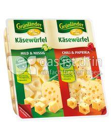 Produktabbildung: Grünländer Käsewürfel Mild & Nussig / Chili & Paprika 150 g