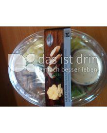 Produktabbildung: Saladinettes Salat & Pasta Hähnchenbrust Grana Padano auf Nudeln mit Caesar Dressing. 350 g