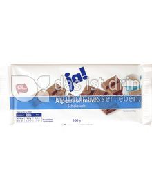 Produktabbildung: Ja! Alpenvollmilch Schokolade 100 g