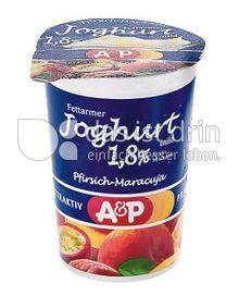 Produktabbildung: A&P fettarmer Joghurt Pfirsich.Maracuja 250 g